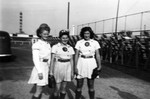 1945 - South Bend Blue Sox Betty Luna, Nalda Bird, and Charlotte Armstrong on Bendix Field by Elizabeth Mahon, Betty Luna, Nalda Bird, and Charlotte Lubman Armstrong