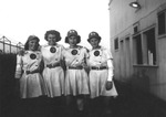 "1945 - Bonnie Baker, Betsy Jochum, Elizabeth ""Lib"" Mahon and Phyllis Koehn of the South Bend Blue Sox by Elizabeth Mahon, Bonnie Baker, Betsy Jochum, and Phyllis Koehn"