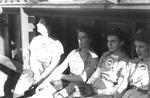 "1944 - Pauline Pirok, Helen ""Nickie"" Fox, and Elizabeth Lib Mahon when playing for the Kenosha Comets by Elizabeth Mahon, Pauline Pirok, and Helen Nickie Fox"