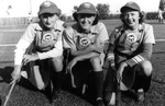 "1944- Phyllis Koehn, Lucille ""Lou"" Colacito, and Darlene Mickelsen of the Kenosha Comets"