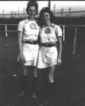 "1945 - Josephine ""Jo"" Kabick and unidentified Grand Rapids Chicks player by Elizabeth Mahon and Josephine Jo Kabick"
