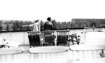 "1940s, circa. - Betsy Jochum and Elizabeth ""Lib"" Mahon on a ferry by Elizabeth Mahon and Betsy Jochum"
