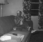 "1951 - South Bend Blue Sox fan ""Aussie"" in her home by Elizabeth Mahon"
