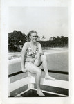 1946 circa - Jean Faut in a bathing suit sitting on a boat by Jean Anna Faut