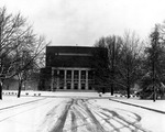 Byrnes Auditorium in Snow December 24, 1947 by Clarence H. and Anna E. Lutz Foundation and Louise Pettus Archives and Special Collections