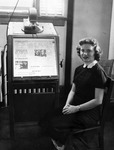 Student Seated at a Microfilm Reader in Carnegie Library 1953