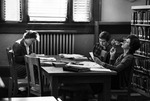Students Studying and one Smoking in Carnegie Library 1960