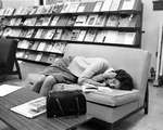 Student Sleeping on Chair in Carnegie Library ca. 1965