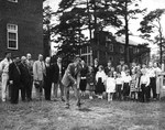 Catawba Hall in Background During Groundbreaking for Student Activity Center 1950 by Clarence H. and Anna E. Lutz Foundation and Louise Pettus Archives and Special Collections
