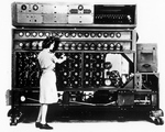Woman working at Bombe Machine