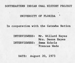 Southeastern Indian Oral History Project - Accession 749 - M348 (399)