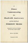 Woodrow Wilson Dinner Program - Accession 1110 - M512 (563) by Woodrow Wilson
