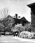 North corner of Margaret Nance Hall and corner of Bancroft Hall ca. 1950