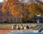 Class being held in front of Margaret Nance Hall, Fall ca. mid 1970s