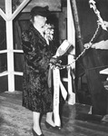 1944 - Mrs. David B. Johnson Christens the S.S. D. B. Johnson