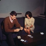Student Playing Cards in Phelps Hall, late 1960s