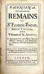 Baconiana, Or, Certain Genuine Remains of Sir Francis Bacon by B 1155 1679, Francis Bacon, and Thomas Tenison