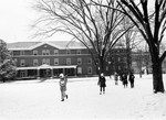 Bancroft Hall in the Snow with Kinard Hall on the right, January 1970
